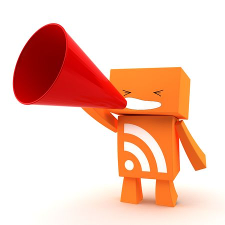syndication: 3D rss character shouting with a red megaphone