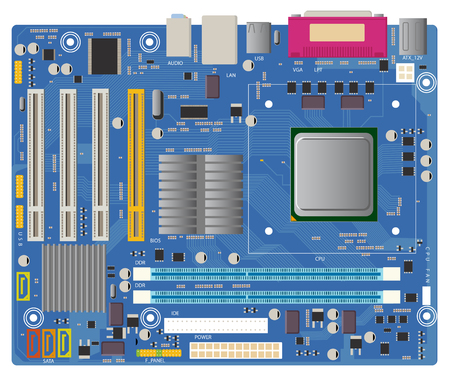 electronic: Computer motherboard in vector on white background. PC chip electronic circuit board with processor vector illustration