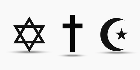 Symbols of the three world religions - Judaism, Christianity and Islam.