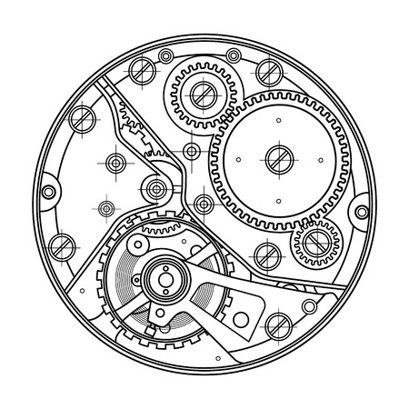 Mechanical watches with gears. Drawing of the internal device. It can be used as an example of harmonious interaction of complex systems, technical, engineering and scientific research, high-tech.