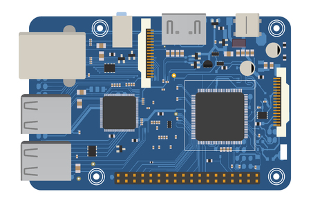 DIY electronic mega board with a microprocessor, interfaces, LEDs, connectors, and other electronic components, to form the basic of smart home, robotic, and many other projects related to electronics Vectores