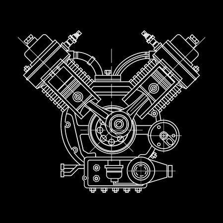 An internal combustion motor. The drawing engine of the machine in section, illustrating the inner structure - the cylinders, pistons, the spark plug.  イラスト・ベクター素材