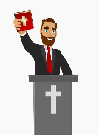 A Christian priest gave a sermon in a church in worship. Vector illustration.
