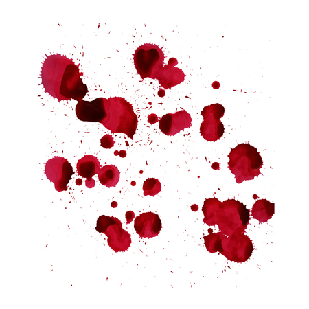 Splashes of blood. Vector image isolated on a white background.
