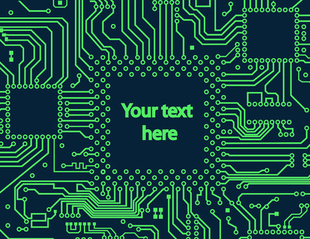 High tech circuit board on vector background Vettoriali