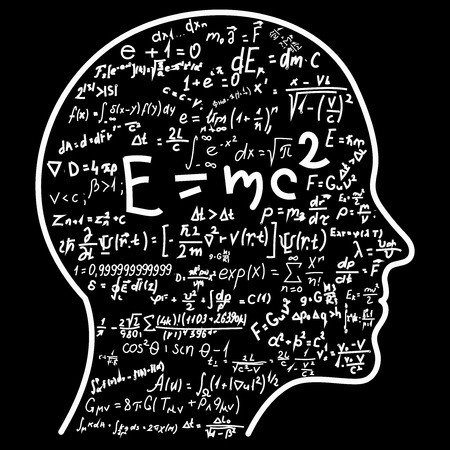 Scientific thinking outline of head filling math and physics formulas. Can illustrate topics related to science.