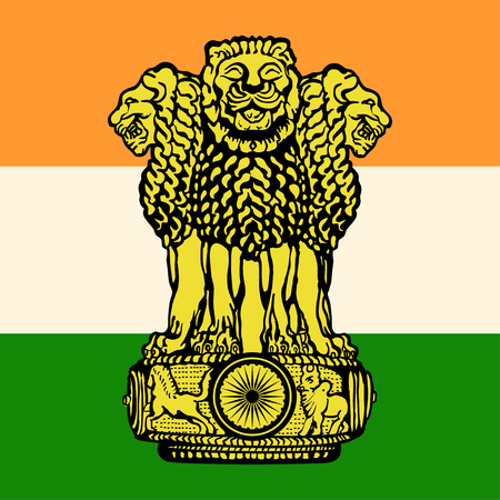 The flag and the emblem of India country