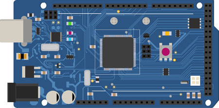 DIY electronic mega board with a microprocessor, interfaces, LEDs, connectors, and other electronic components, to form the basic of smart home, robotic, and many other projects related to electronics Illustration