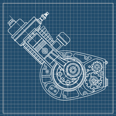 Motorcycle engine design isolated in black background.