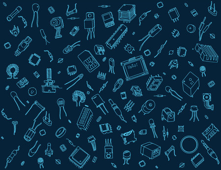 Electronic components pattern on blue background Illustration