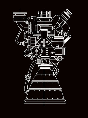 Rocket engine design. It can be used as an illustration for the high-tech, engineering development and research. 일러스트