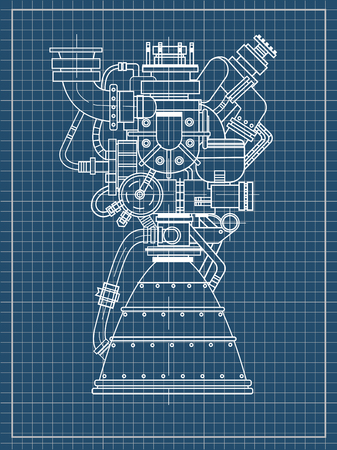 Rocket engine drawing on black background isolated.