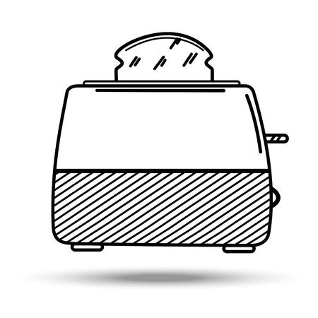 Toaster in line art style. Illustration on isolated background. Vettoriali