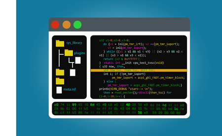 Program code editor, the integrated software development environment. Isolated on background.