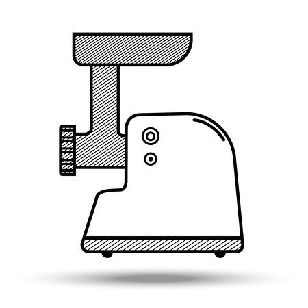 Meat grinder in line art style.