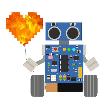Cute little cartoon robot holding a balloon in the form of heart. Illustration for a National Love Your Robot Day.