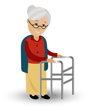 Elderly woman on a walker needs medical care. May illustrate topics related to old age, the medical service of persons with disabilities