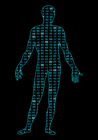 Artificial Intelligence. Silhouette of a mans body, inside which binary code.