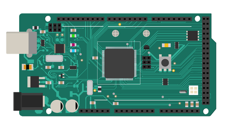 DIY electronic board with a microprocessor, interfaces, LEDs, connectors, and other electronic components.