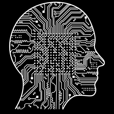 Artificial Intelligence. The image of human head outlines, inside of which there is an abstract circuit board. Vector illustration.