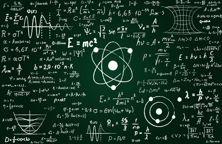 Blackboard inscribed with scientific formulas and calculations in physics and mathematics. Can illustrate scientific topics to quantum mechanics and any scientific
