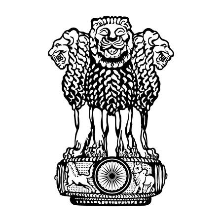 Embleem van India. Zwart en wit. Stockfoto - 98088886