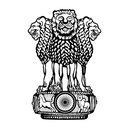 Emblem of India. Black and white. Çizim