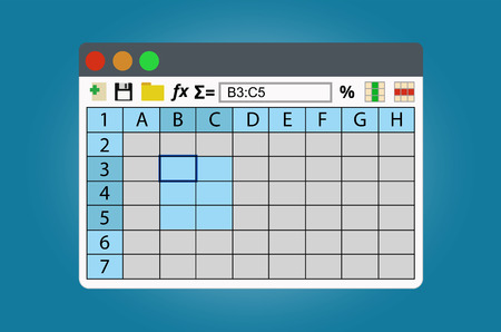 Spreadsheets program window. Isolated on white background.