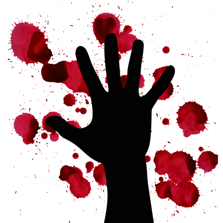 Splashes of blood and hand black silhouette. may illustrate the theme of violence, terrorism and war. Illustration
