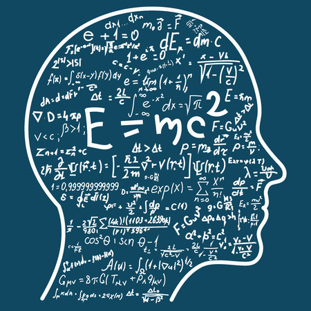 Scientific thinking. Outline of head filling math and physics formulas. Can illustrate topics related to science. 免版税图像 - 98089008