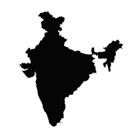 India map silhouette vector in black on a white background isolated.