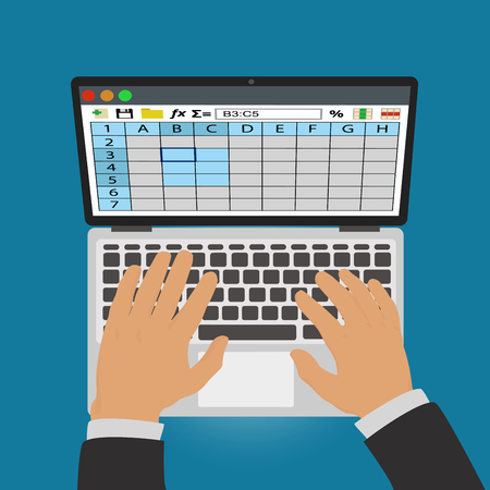 Spreadsheets. Work on laptop