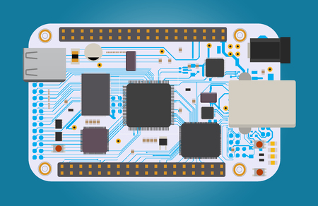 DIY electronic mega board with a micro-controller, LEDs, connectors, and other electronic components. Vector illustration. Ilustrace