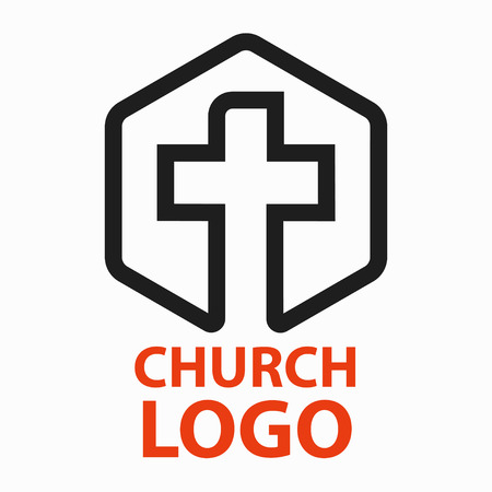 Christian churches logo line art in the form of a cross intended for christian religious organizations. Ilustrace