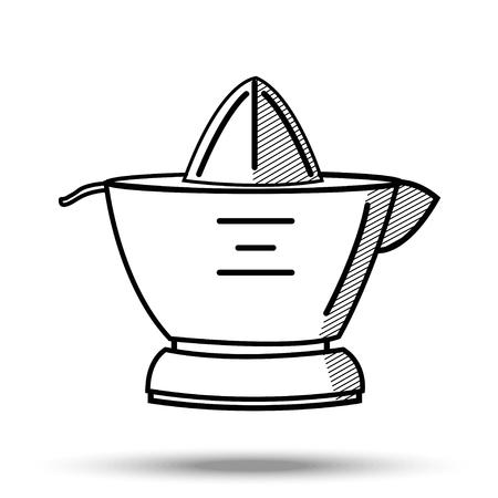 Citrus juicer in line art style. Illustration on isolated background. Illustration