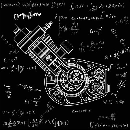 Motocycle engine design isolated in black background. It can be used as an illustration for the high-tech, systems and mechanisms, motors, development of engineering and research.
