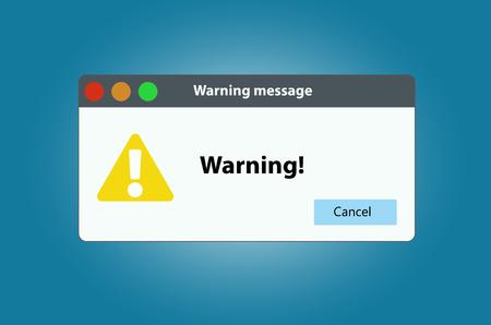 Operating system error warning. Illustration on white isolated background.