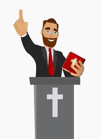 Le prêtre a donné un sermon dans une église en adoration. Illustration vectorielle.