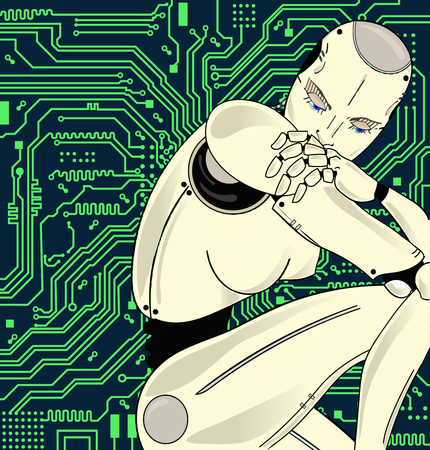 Female robot with artificial intelligence, sits pensively on the background of circuit board. Can illustrate the idea of machine learning, artificial neural networks, the development of technology