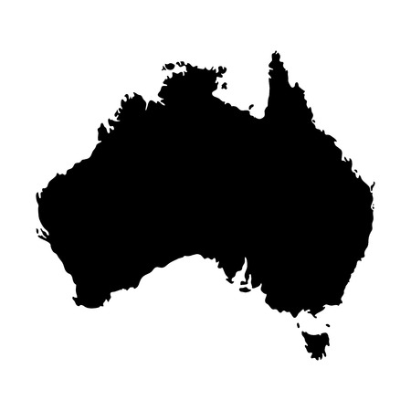 Silhouette map of Australia in black, isolated on white background. Vettoriali