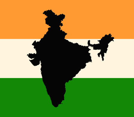 India vector flag and outline map.