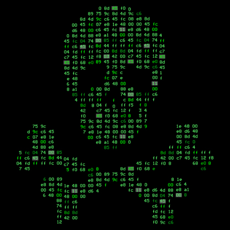 Hi tech crossbones death skull, danger sign from binary code. It illustrates the idea of cyber security, data protection and information breaches, vulnerabilities, hacking attacks. Illustration