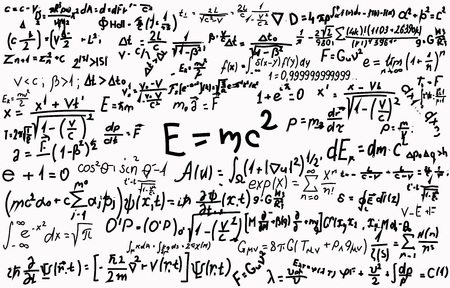 Blackboard inscribed with scientific formulas and calculations in physics and mathematics in black and white