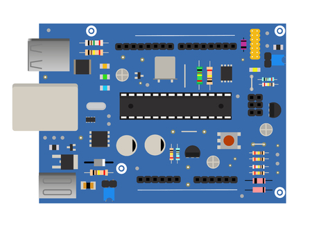 Electronic mega board with a microprocessor, interfaces, LEDs, connectors, and other electronic components, electronics