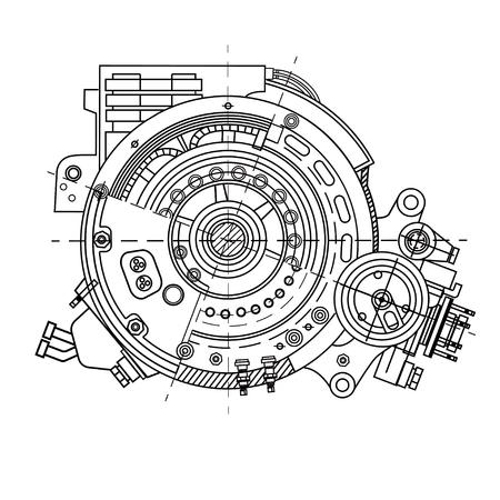 Elektromotorabschnitt, der die interne Struktur darstellt Standard-Bild - 98575330