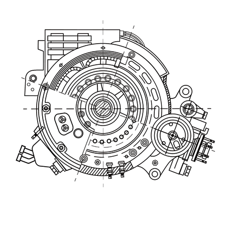 Electric motor section representing the internal structure