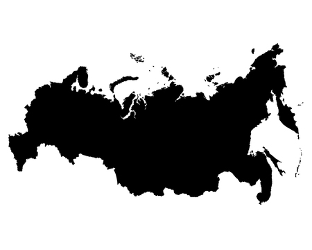 Map of Russia vector outline. The vector silhouette of the Russian Federation