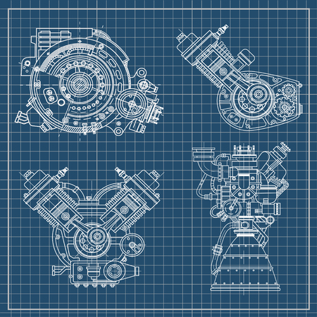 Set of drawings of engines - motor vehicle internal combustion engine, motorcycle, electric motor and a rocket. It can be used to illustrate ideas of science, engineering design and high-tech 일러스트