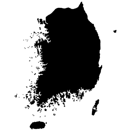 South Korea map vector silhouette. Isolated on white background.
