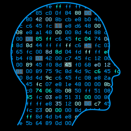 Artificial Intelligence. The image of a human head outline, inside which depicts a binary code, which symbolizes the process of thinking. Illustration work artificial neural networks. Illustration